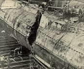 A huge hole is shown in the side of the salvaged S-51 (US Navy)