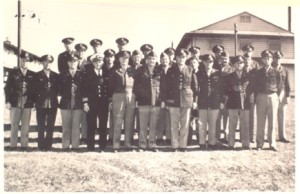 Fort Getty staff and faculty, about November 1945. Lieutenant Colonel Alpheus W. Smith is front and center, with Brigadier General B. M. Bryam, Assistant Provost Marshal, to his left (Jamestown Historical Society)