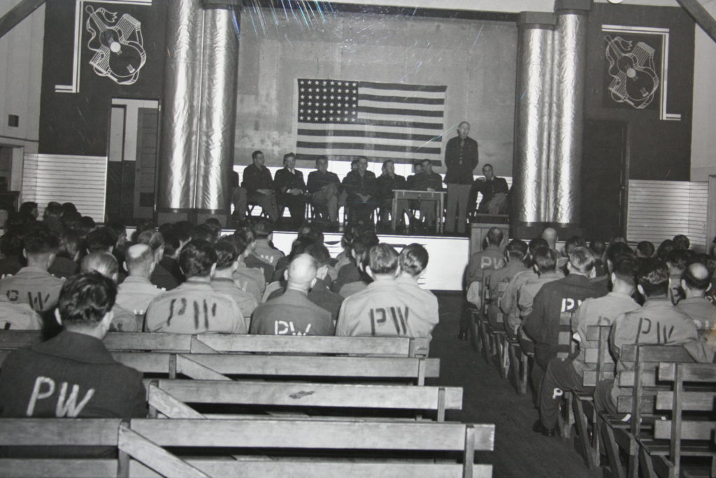 TV Smith addresses POWs graduating in a ceremony at Fort Getty (Edward Davidson Papers, Yale University Library)