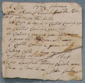 Property list of John Gorton, 1774 (South Kingstown Town Hall)