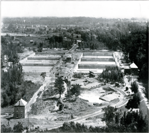 View of filtration plant construction, pumping station on right