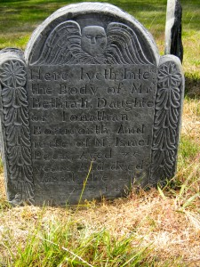 Bethia Bozworth gravestone, carver unknown, in the North Burial Ground in Providence (Robert A. Geake)