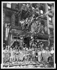 Celebrating VJ Day in Little Italy in New York City (Library of Congress)