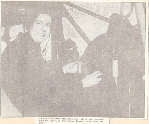 Nancy Allen Holst at the controls of a plane. She was one of the few female licensed pilots in Rhode Island in the 1930s and, piloting her plane after the 1938 Hurricane, she spotted dead bodies floating in the water so that they could be recovered. (Collection of Anne D. Holst and Clouds Hill Victorian House Museum)