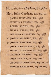 Between 1758 and 1767 Stephen Hopkins of Providence and Samuel Ward of Westerly engaged in bitter elections for governor. This prox dates to ca. 1758 (Collection of Daniel C. Schofield)