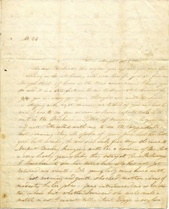 Cover page of letter from Henrietta Tew Deblois to her husband, dated Nov. 5, 1845 (John S. Deblois Papers, Newport Historical Society Collections)