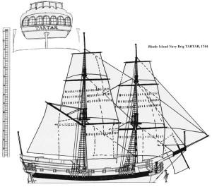 The Rhode Island Navy brig Tartar, 1744 (www.colonialnavy.org)
