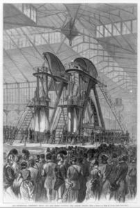President Grant helps to start the Corliss engine at the Centennial Exhibition in Philadelphia, 1876