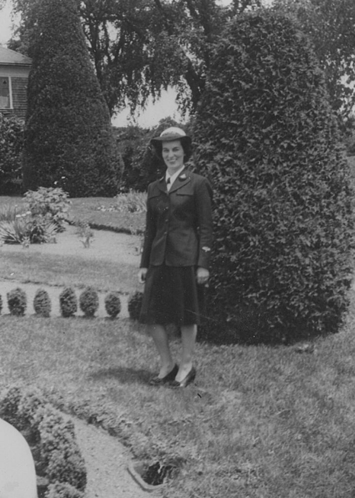 Marie Duggins in her WAVE uniform, having graduated from the Naval Training School at the Bronx, early 1944