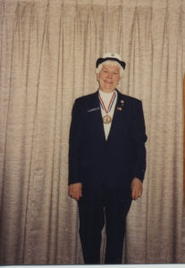Marie Duggins in parade dress for Veteran's Day in the 1980s/1990s