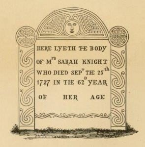 Illustration of the gravestone of Sarah Kemble Knight in New London, Connecticut