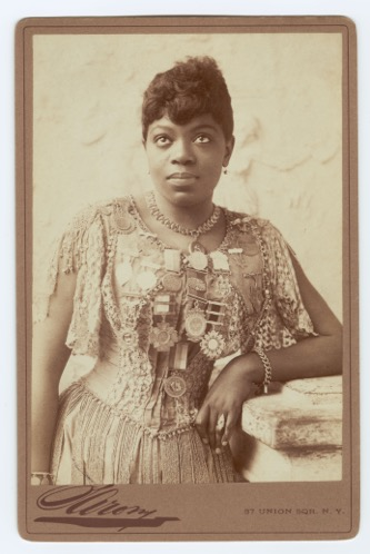 Sissieretta Jones wears medals she earned on her West Indies, Central America and South America tours (Brander Matthews Dramatic Museum Portrait Collection Rare Book and Manuscript Library, Columbia University)