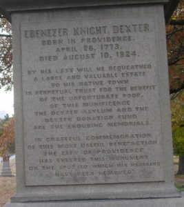 The inscription on the memorial for Ebenezer Knight Dexter at the North Burial Ground