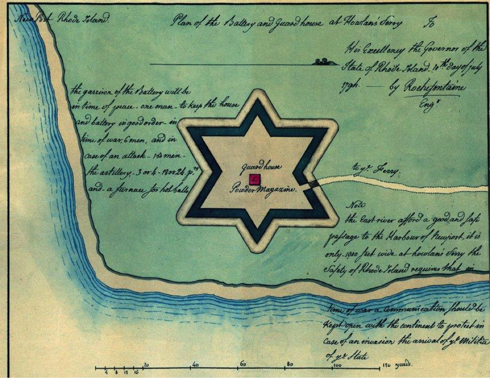 Fig. 2. Plan for the Battery and Guard House at Howland's Ferry (Rhode Island State Archives)