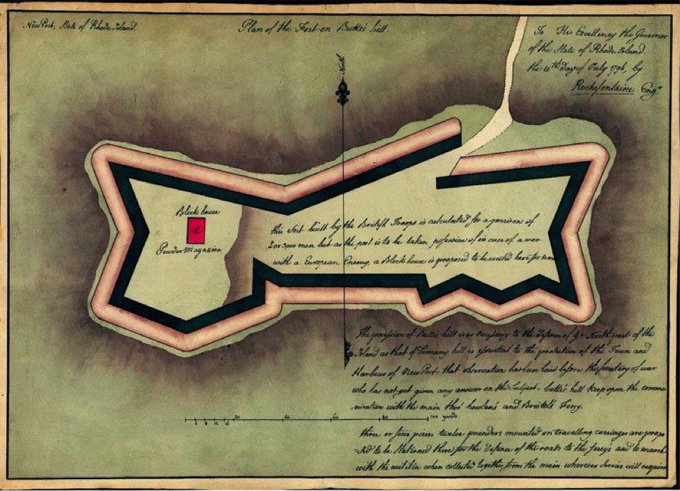 Fig. 3. The Plan of the Fort on Butts Hill (Rhode Island State Archives)