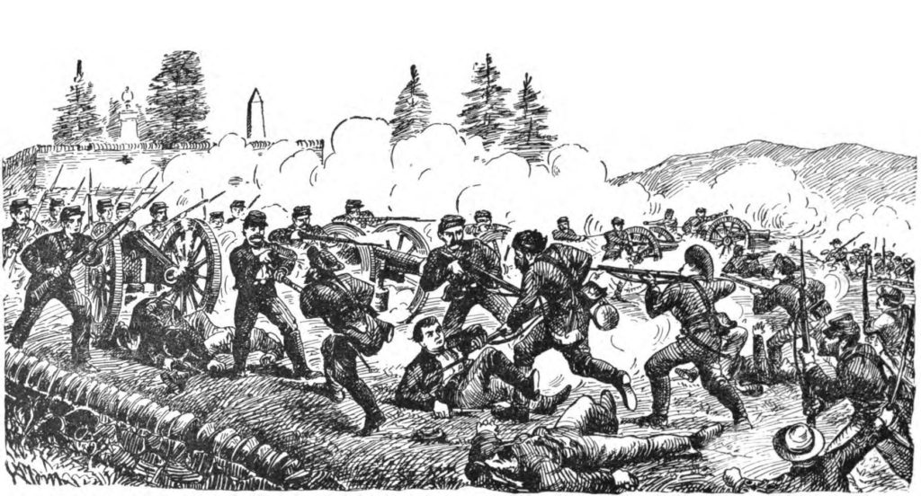 This print shows part of the fierce action between Lamb's Battery C, the Vermont Brigade, and some Alabamians at Cedar Creek (Buell, The Cannoneer)