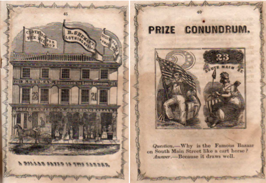 Figure 2 - The woodcut Lewisson used in newspaper ads (left) was modified to incorporate new owner Benjamin Shuman's name. Shuman used the images in his advertisement handbill for the Clothing Bazaar.