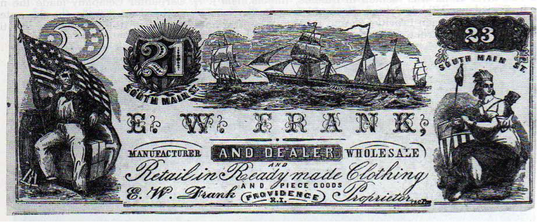 Figure 3 – The Clothing Bazaar's facsimile bank note underwent another change in the early 1860s when Elisha W. Frank purchased the store. The new version, which prominently featured Frank's name, retained the 21-23 South Main Street address.