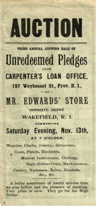 Figure 5 – Advertising issues that copied the images and designs used on Confederate notes were common. Carpenter's Loan Office, a Providence pawnshop, used a portrait of Jefferson Davis on the face of a facsimile note that promoted one of its auctions.