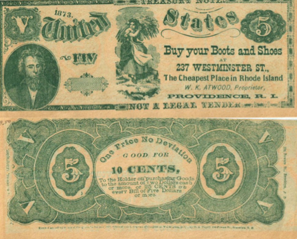 """Figure 6 – William K. Atwood marketed his Providence boot and shoe business with a """"good for"""" note, which in this case was 10 cents off of a purchase of $2 or more, or 25 cents on $5 or more. The word FIV on the front may have been intentionally misspelled."""