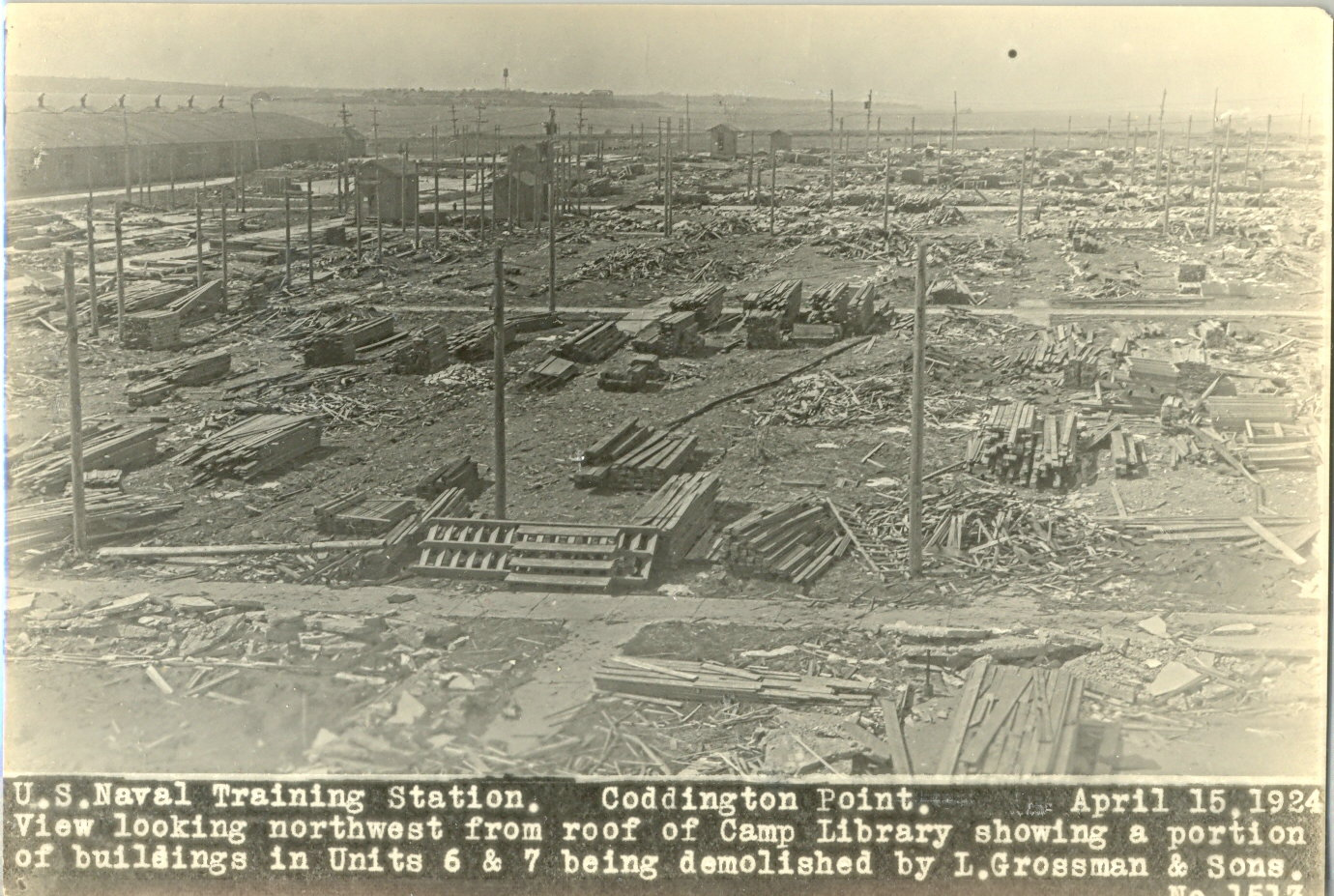 After sitting unused for many years, the war emergency camp constructed in 1917-1918 on Coddington Point was declared excess, resulting in over 200 buildings being dismantled and sold at auction (Naval War College Museum)