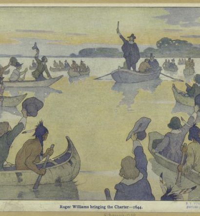 Roger Williams, returning to Providence from London in 1644, holds up the Rhode Island Patent of 1643-44. By E. Boyd Smith (1860-1943) (New York Public Library)