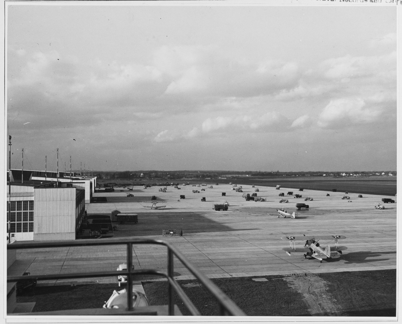 Planes and other equipment at the Naval Air Station at Quonset Point are dispersed in case of a surprise enemy attack, on December 9, 1941, taking a lesson from the attack on Pearl Harbor (Naval History and Heritage Command)