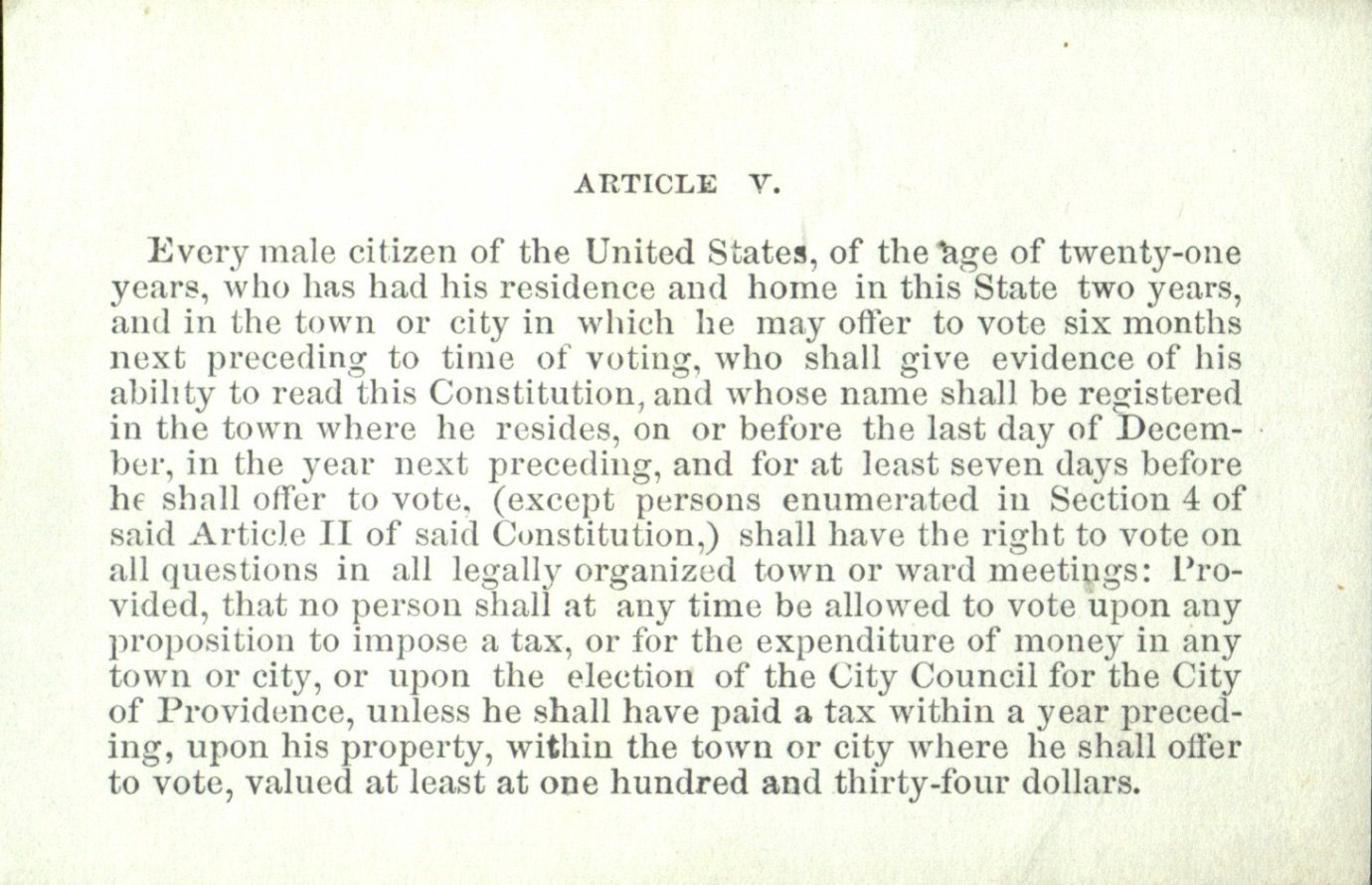 Civil wars end revives suffrage battles in rhode island online figure 5 a proposed 1871 amendment to the state constitution allowing naturalized citizens the franchise on an equal footing with native born citizens falaconquin