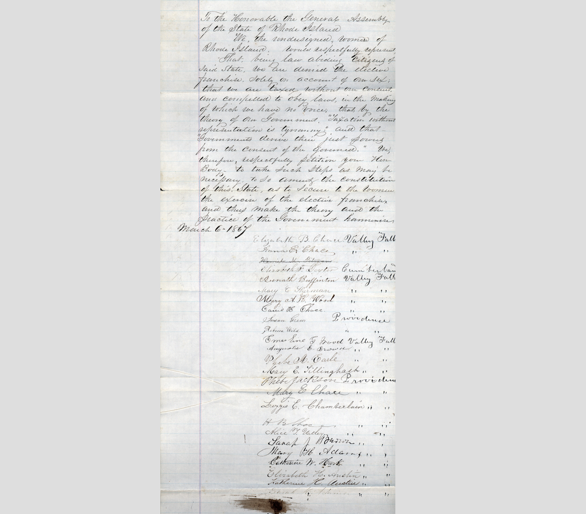 Civil wars end revives suffrage battles in rhode island online rhode island womens 1867 petition to general assembly requesting an amendment to the state constitution to allow women the elective franchise ri state falaconquin